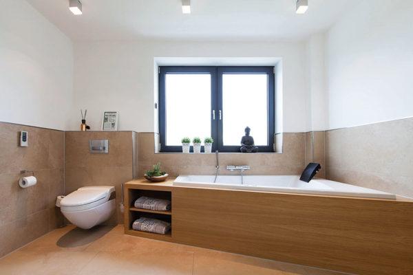 Die stylische Badewanne inkl. Musikanlage sowie eingebauter Kopfstütze und Rückenwhirldüse sorgt für die notwendige Entspannung und ein charakterstarkes Bad.